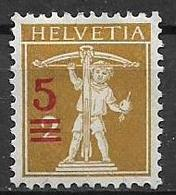 SVIZZERA  1921 SOPRASTAMPATI CON NUOVO VALORE UNIF.180  MLH VF - Svizzera