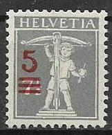 SVIZZERA  1921 SOPRASTAMPATI CON NUOVO VALORE UNIF.181 MLH VF - Svizzera