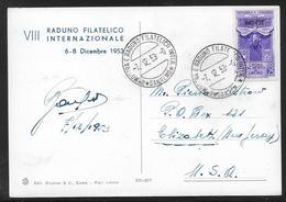 Trieste - 1953 Postcard - San Remo Philatelic Exhibition AMG FTT Stamp - Storia Postale
