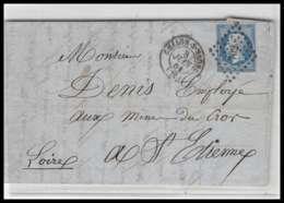 LAC Lettre Cover France 0834 Bourgogne Saône-et-Loire Napoleon N°14 T1 Pc 702 Châlons Pour St Etienne Loire Tb Convoyeur - 1849-1876: Periodo Classico