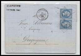LAC Lettre Cover France 2020 Alpes-Maritimes Napoléon N°22 Gc 117 Paire Antibes Pour Draguignan Var 11/9/1867 - Marcophilie (Lettres)