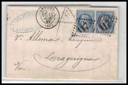 LAC Lettre Cover France 2040 Alpes-Maritimes Napoléon N°29 T2 Paire Gc 117 Antibes Pour Draguignan Var 13/9/1869 - Marcophilie (Lettres)