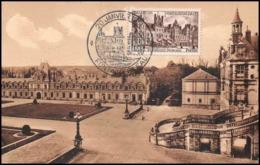0635/ Carte Maximum (card) France N°878 Château (castle) Fontainebleau La Cour Des Adieux 20/1/1851 Fdc Premier Jour - 1950-59