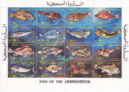 Libya 1983 Fish Frpom Libuya Sheetlet Of 16 Stamps Compl.set MNH Unfolded,Reduced Pr. SKRILL PAY ONLY - Libië
