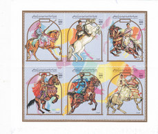 Libya Horses Ikssued In Small Sheet Of 6 V.complete MNH- Nice Scarce Topical - Reeduced Price - SKRILL PAYMENT - Libya