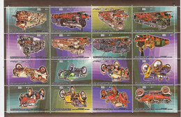 Libya Old Cars & Trains Sheet Of 16 Stamps Compl.set MNH -scarce Topical Set- Red. Price- SKRILL PAY .ONLY - Libië