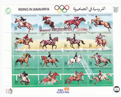 Libya 1984 Horses Sport Sheetlet Of 16 V.compl.set MNH- Scarce Topical Issue- Red. Price- SKRILL PAYMENT ONLY - Libië