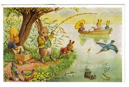 Illustrateur RACEY HELPS Rabit Lapin Pêcheur à La Ligne Surprise Catch Medici Society LtD London PK 313 - Künstlerkarten
