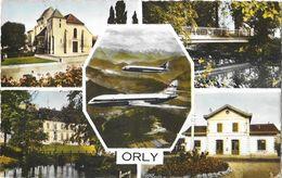 Orly (Val-de-Marne) - Multivues: Gare, Eglise, Mairie, Caravelle - Edition Raymon - Carte Colorisée Non Circulée - Orly