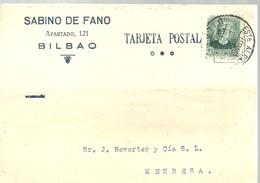 TARJETA COMERCIAL BILBAO  1933  MATASELLOS  ESTAFETA ALCANCE - 1931-Hoy: 2ª República - ... Juan Carlos I
