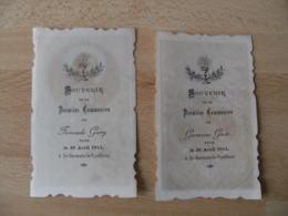Lot De 2 Saint Germain Le Fouilloux Communion 1911l Holly Card Image Relieuse Pieuse - Images Religieuses