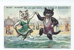 Illustrator Postcard Signed Ellis? Cats Like Louis Wain Style Postcard Mixed Bathing Tucks 9562 Posted 1915oilette - Gatos