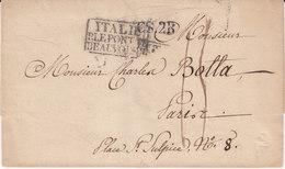 Italie Marque D'entrée Italie Par Le Pont De Beauvoisin Noel N°152 - Storia Postale