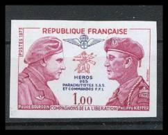 France N°1773 Bourgoin Kieffer Héros Parachutistes SAS Resistance Guerre 1939/45 Non Dentelé ** MNH (Imperforate) - France