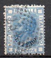 Levante 1874 N. 5 Sassone 20 Cent Azzurro  Timbrato Used - Buitenlandse Kantoren