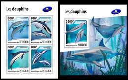NIGER 2018 - Dolphins, M/S + S/S. Official Issue - Niger (1960-...)