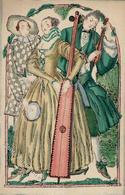 Wiener Werkstätte Nr. 1003 Löw, Fritzi Rokoko Musiker Künstler-Karte I- - Kokoschka