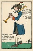 Wiener Werkstätte Nr. 179 Löffler, Bertold Kaiserhuldigungs Festzug Künstler-Karte I- - Kokoschka