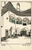 Wiener Werkstätte Nr. 718 Schwetz, Karl Krems Hotel Post Künstler-Karte I- - Kokoschka