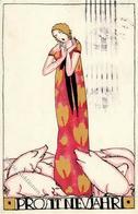 Wiener Werkstätte Nr. 893 Nechansky, Arnold Neujahr Künstler-Karte II (fleckig) Bonne Annee - Kokoschka