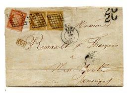France - N°6 (carmin Pale ?) + N°1 Paire Sur Lettre De Metz Pour New York 1851 - 2 Scans - (F207B) - 1849-1876: Classic Period