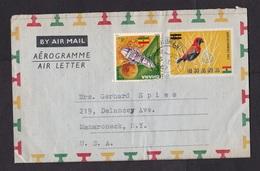 Ghana: Stationery Aerogramme To Germany, 1967, Value Overprint, Extra Stamp, Bird, Cancel Kumasi (stamp Damaged) - Ghana (1957-...)