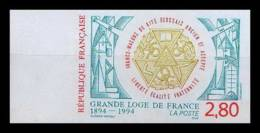 France N°2912 Grande Loge De France Franc Maconnerie Macon 1993 Non Dentelé ** MNH (Imperforate) - France