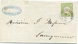 LETTRE AVEC 1/2 GROSCHEN KLEINES BRUSTSCHILT NIEDERBRONN ELSASS 1872 - Deutschland