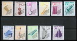 France Préoblitere PREO N°213 / 223 Instrument De Musique Musical Instrument Non Dentelé ** MNH (Imperforate) - France