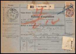 25318/ Bulletin D'expédition France Colis Postaux Fiscal Haut Rhin Saint-Amarin 1927 Merson 145 + Fiscal - Paketmarken