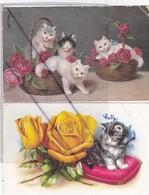 Chats . Lot De 2 C.P.  Chatons Dans 2 Paniers ,Chaton Sur Un Coussin Garni De Roses - Cats