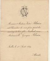 Mariage De Victor Et Georgine Blaise 1889 à Ixelles - Mariage
