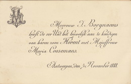 Mariage De Boeynaems Notaire Coosemans 1888 Anvers - Mariage