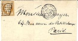 22 - 1 -1855 - Lettre De Paris Pour Paris Cad N°1337 Affr. N°13 Oblit.  REUTILISATION GRILLE - Marcofilia (sobres)