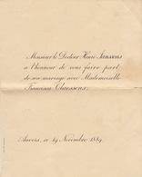 Mariage De Janssens Docteur Claessens 1889 Anvers - Mariage