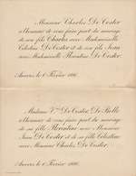 Double Mariage De Charles Et Jean De Coster Avec Celestine Et Florentine De Coster De Bolle 1886 Anvers - Mariage