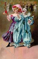 Karneval Clown Frau Geprägt Künstlerkarte 1908 I-II - Zirkus
