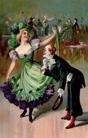 Karneval Clown Frau Geprägt Künstlerkarte I-II - Zirkus