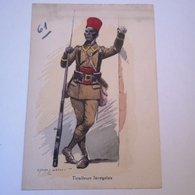 CPA Illustrator: Edmond Lajoux - Militair / Tirailleurs Senegalais 61 // 19?? - Uniforms