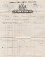 Facture Illustrée 2 Pages GRUBER & REEB Brasserie Koenigshoffen STRASBOURG 1867 Pour Tivolier Toulouse - France