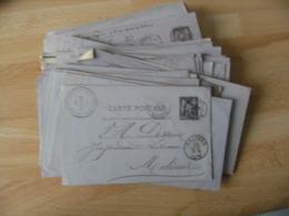 Lot De 70 Entier Postal Entiers Postaux Carton Violine Timbre Sage Obliteration Diverses - Marcophilie (Lettres)