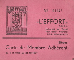 """Carte De Membre Université Du Travail à Charleroi L'EFFORT"""" - Documents Historiques"""