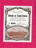 Etiquette Vin, Domaine Du Grand-Ormeau, Lalande-de-Pomerol - Collections, Lots & Séries