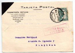 Tarjeta Postal Con Matasellos De Censura Militar De Vitoria. 1937 - 1931-Hoy: 2ª República - ... Juan Carlos I