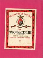 Etiquette Vin, Grands Vins De St-Estèphe, Marquis De St-Estèphe, 1961 - Collections, Lots & Séries