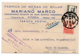 Tarjeta Postal Con Matasellos De Censura Militar De Vitoria. 1938  Con Publicidad Mesas De Billar - 1931-Today: 2nd Rep - ... Juan Carlos I