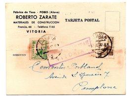 Tarjeta Postal Con Matasellos De Censura Militar De Vitoria. 1937  Con Publicidad Fabrica De Yeso - 1931-Hoy: 2ª República - ... Juan Carlos I