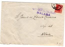 Carta Con Matasellos De Censura Militar De Malaga Y Matasellos De Vitoria  Rodillo Por Detras. - 1931-Hoy: 2ª República - ... Juan Carlos I