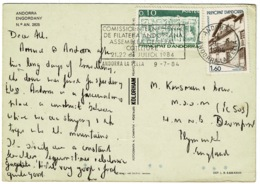 Ref 1249 - 1984 Engordany Andorra Postcard - 1.70f Rate To England - Good Slogan - Andorra