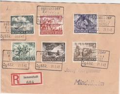 Allemagne Ambulant Oberstdorf/Kempten Sur Lettre Recommandée Immenstadt 1943 - Allemagne